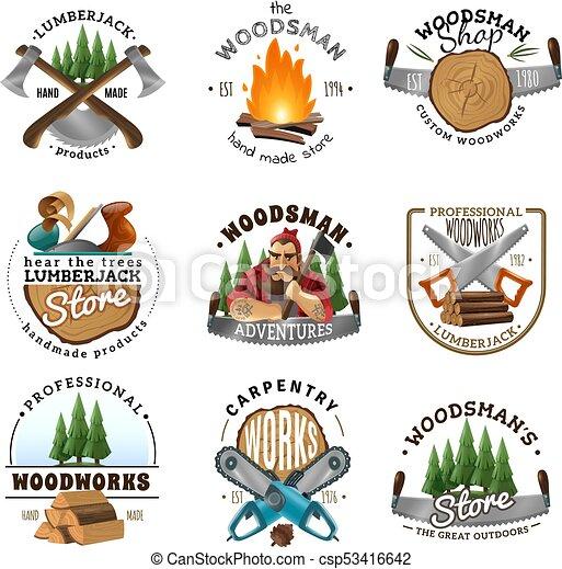 Lumberjack logo emblems labels set csp53416642