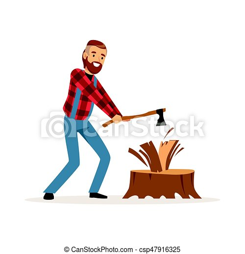 lumberjack man in a red checkered shirt chopping wood with vector rh canstockphoto com lumberjack axe clipart lumberjack clipart png