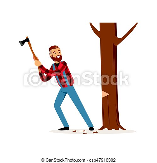 lumberjack man in a red checkered shirt cutting tree with an axe rh canstockphoto com lumberjack axe clipart lumberjack clipart free