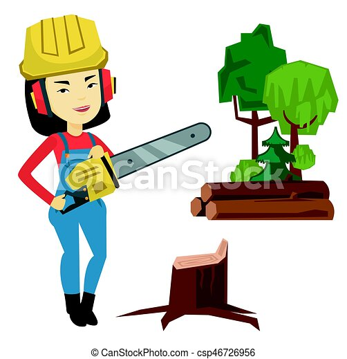 lumberjack with chainsaw vector illustration asian clipart rh canstockphoto com lumberjack hat clipart lumberjack clipart images