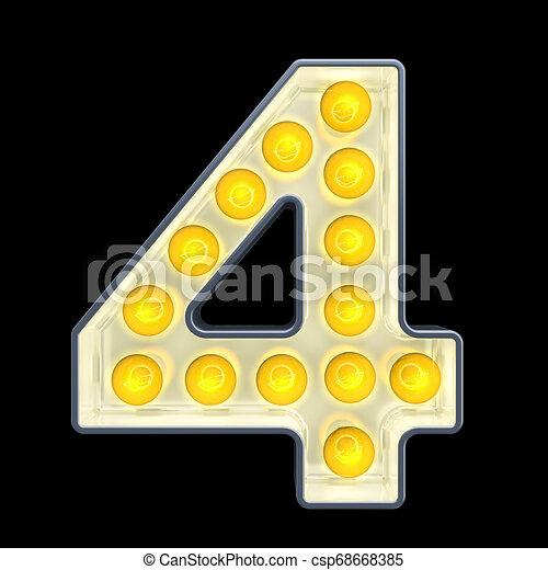 lumière, 4, nombre, rendre, incandescent, retro, font., ampoule, 3d - csp68668385
