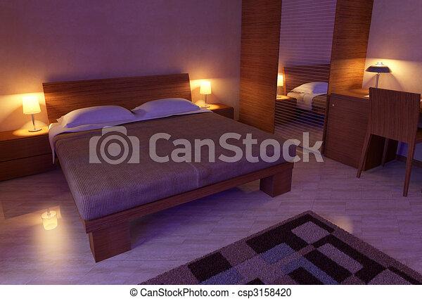lumi re chambre coucher doux 3d bois lumi re moderne engendr informatique chambre. Black Bedroom Furniture Sets. Home Design Ideas