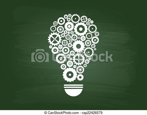 lumière, concept, idée, ampoule, engrenages - csp22426579