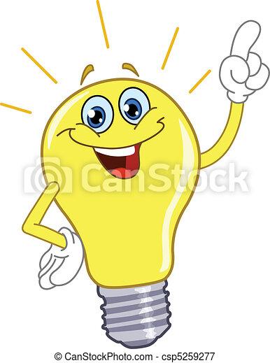 lumière, dessin animé, ampoule - csp5259277