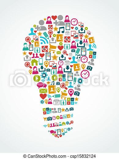 lumière, eps10, icônes, média, idée, isolé, social, ampoule, file. - csp15832124