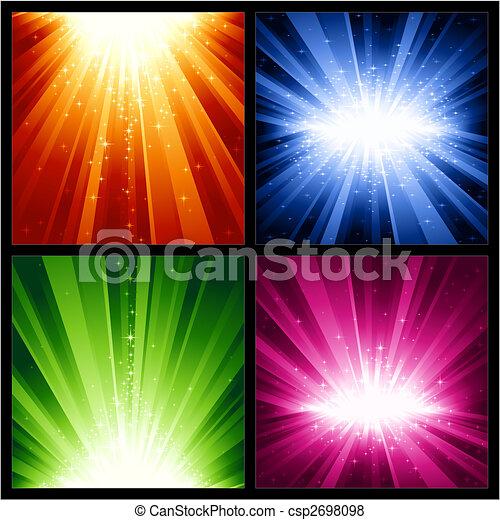 lumière fête, années, étoiles, nouveau, noël, explosions - csp2698098