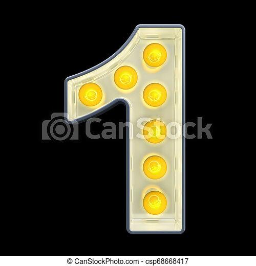 lumière, nombre, rendre, incandescent, retro, font., ampoule, 1, 3d - csp68668417