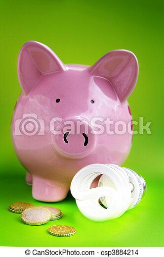 lumière, pièces, eficient, porcin, ampoule, banque, euro - csp3884214