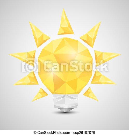 lumière, poly, vecteur, bas, ampoule, style , icône