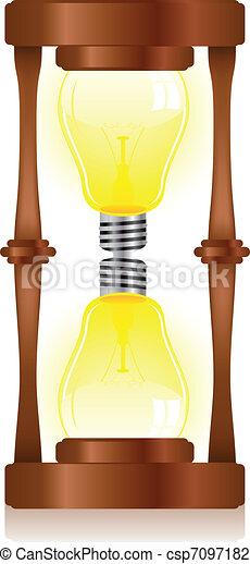 lumière, sablier, créativité, ampoule - csp7097182