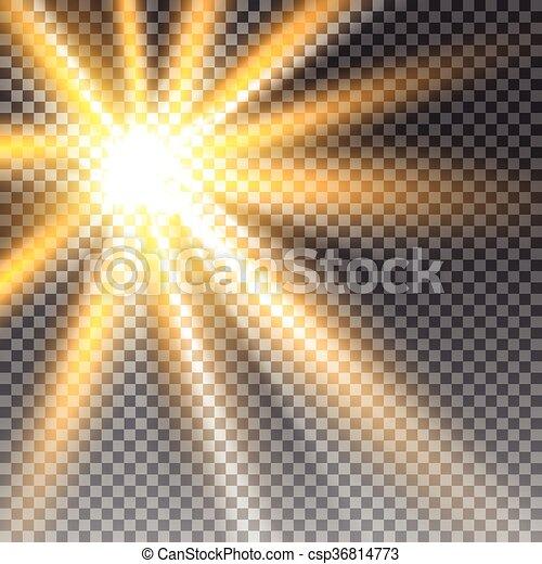 lumière soleil, transparent, vecteur - csp36814773