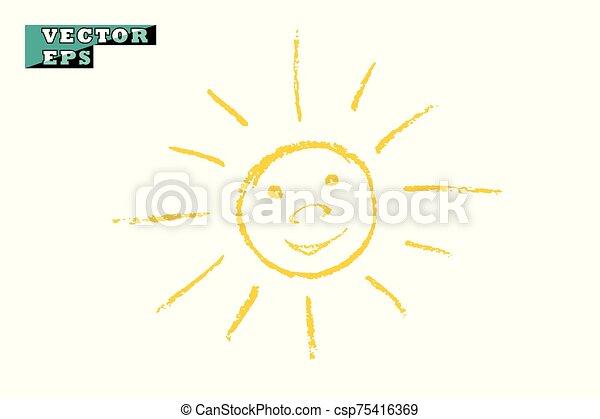 lumière, sourires, briller, objet, arrière-plan., vecteur, joy., jaune, isolé, soleil, drawing., enfants - csp75416369
