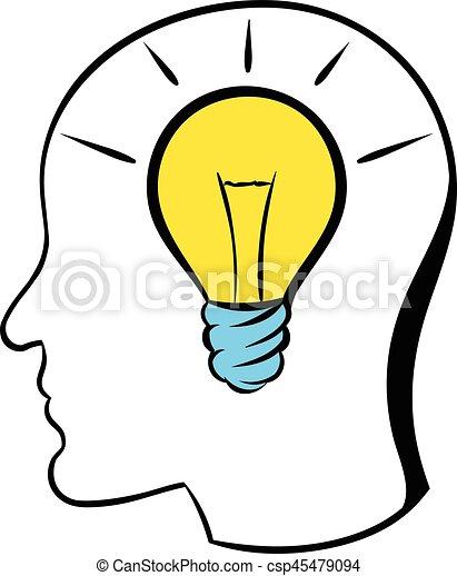 Ampoule Dessin lumière tête, icône, ampoule, dessin animé, icône. lumière tête
