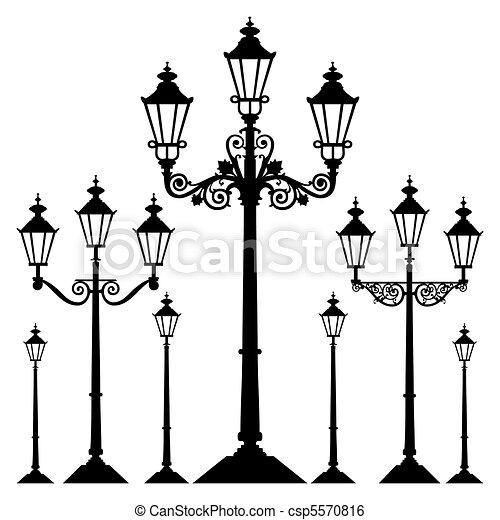 lumière, vecteur, rue, retro - csp5570816
