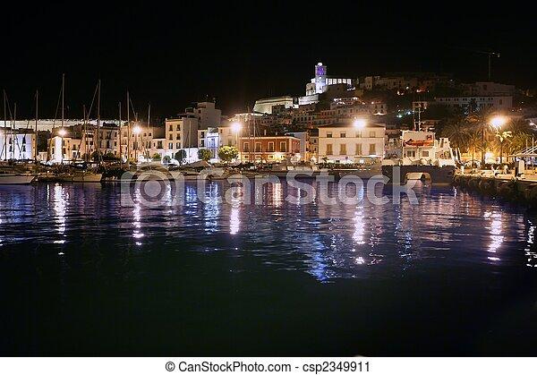 lumière ville, île port, sous, ibiza, nuit - csp2349911