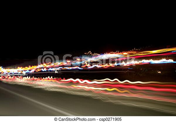 lumières, autoroute, nuit - csp0271905