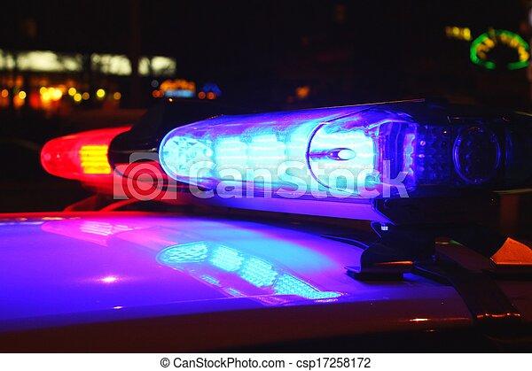 lumières, police, nuit - csp17258172