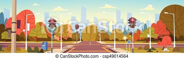 lumières ville, rue, trafic, vide, passage clouté, route - csp49014564