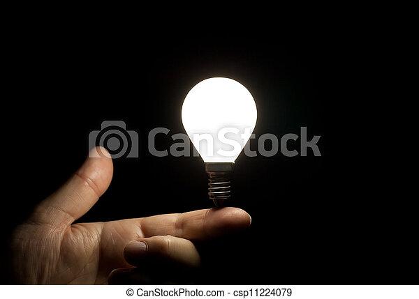 luminoso, luce, equilibratura, dito, bulbo - csp11224079