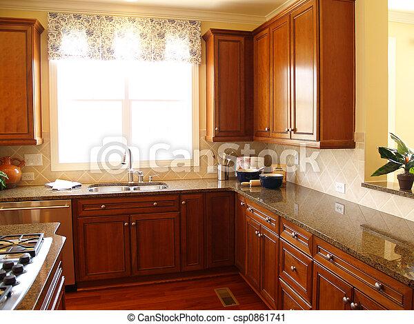 luminoso, luxo, cozinha - csp0861741