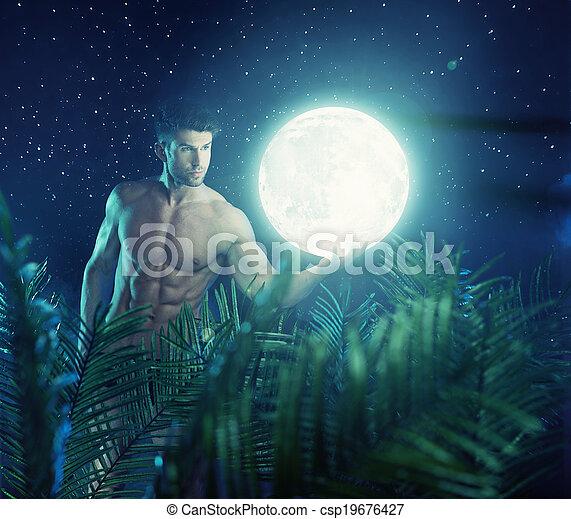 luminoso, portante, eroe, forte, luna - csp19676427