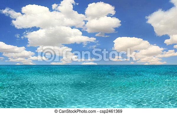 luminoso, scena spiaggia, giorno, oceano - csp2461369