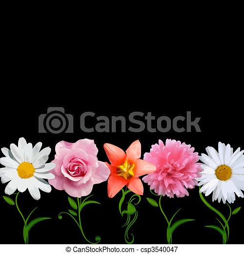 luminoso, vettore, -, fiori, fila - csp3540047