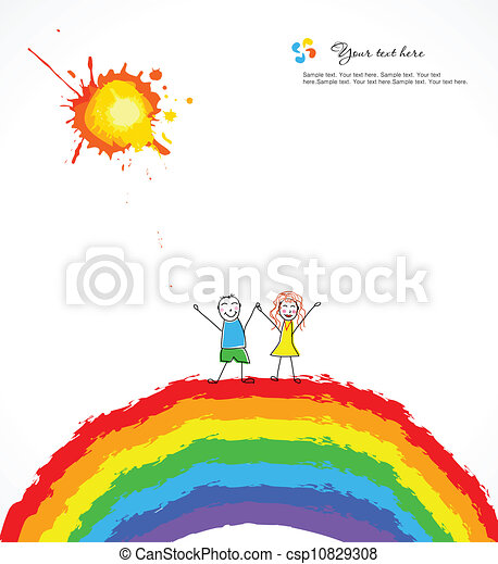 luminoso, vettore, rainbow., fondo, bambini, felice - csp10829308