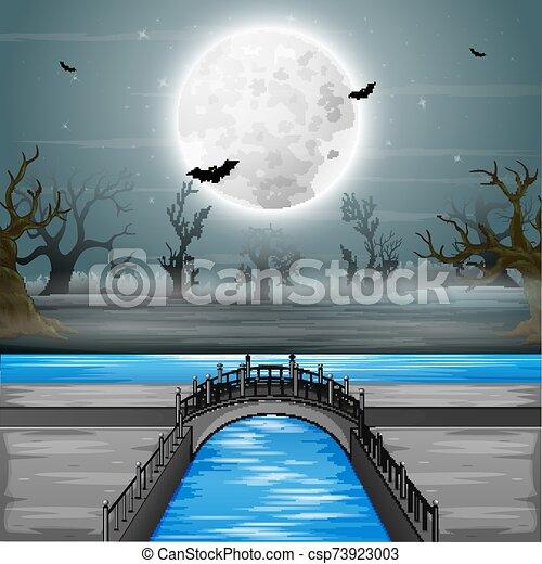 luna, arco, plano de fondo, puente, lleno - csp73923003