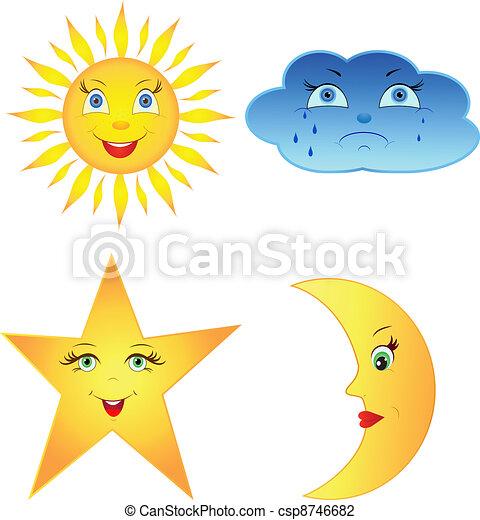 Ilustracin vectorial de luna estrella nube sol cmico