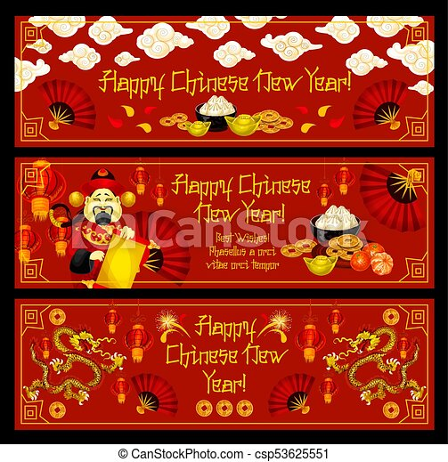 Lunar new year banner of chinese spring festival celebration lunar new year banner of chinese spring festival csp53625551 m4hsunfo