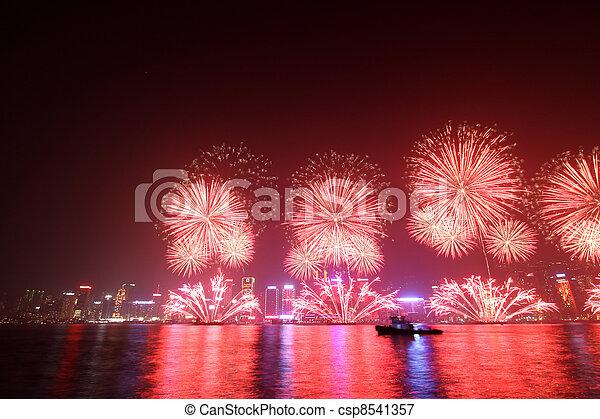 Lunar New Year Fireworks in Hong Kong 2011 - csp8541357