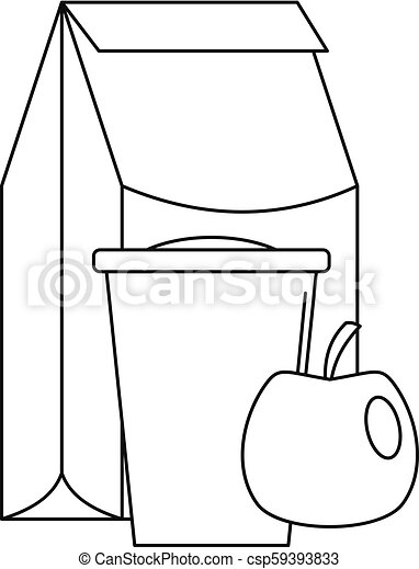Lunch Apple Pack Icon Outline Style Lunch Apple Pack Icon Outline