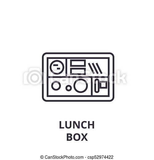 lunch box line icon, outline sign, linear symbol, vector, flat illustration