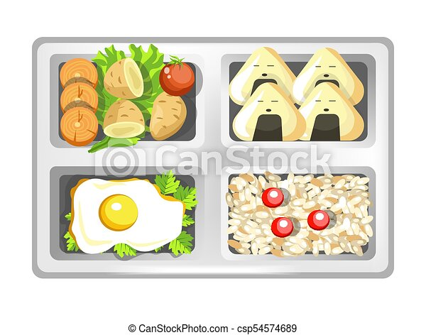 Lunch Box Of Japanese Bento Meals Sushi Rolls Eggs And Rice With