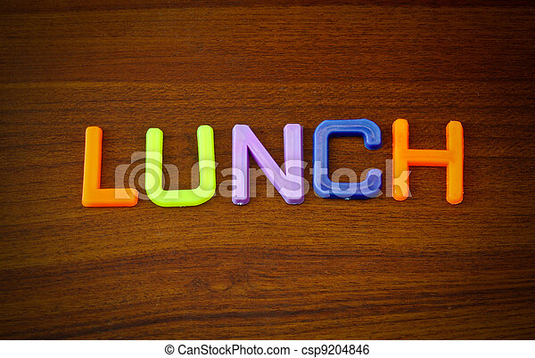 Lunch in colorful toy letters - csp9204846
