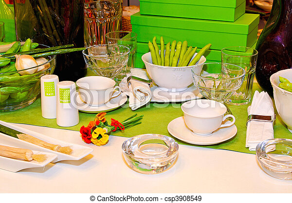 Lunch table - csp3908549 & Lunch table. Home table set up for casual lunch .