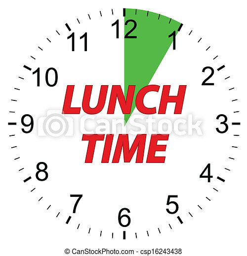 lunch time clock lunch time clock on a white background vectors rh canstockphoto com Free Business Clip Art Clocks Clock Clip Art Free Download