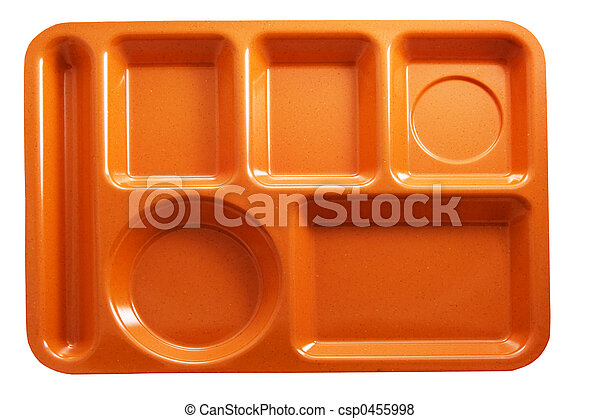 orange plastic school lunch tray on white background rh canstockphoto com Graphic Cartoon School Lunch Trays School Lunch Tray Clip Art
