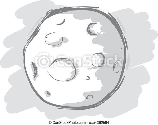 Blanc noir illustration lune - Dessin de lune ...