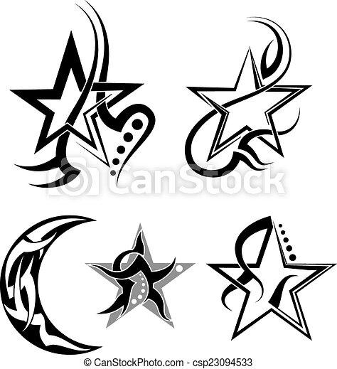 Lune Tatouage Etoile Lune Tatouage Vecteur Art Etoile