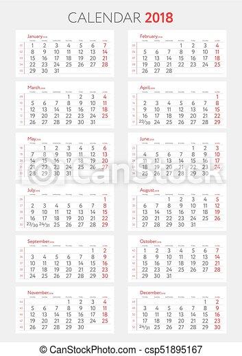 Calendario A Settimane.Lunedi Inizi Template 2018 Calendario Settimane