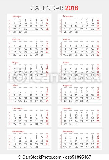 Calendario De Semanas.Lunes Comienzos Template 2018 Calendario Semanas