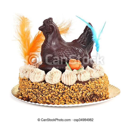 lunes, mona, de, pascua, adornado, comido, pastel, pascua, españa - csp34984982