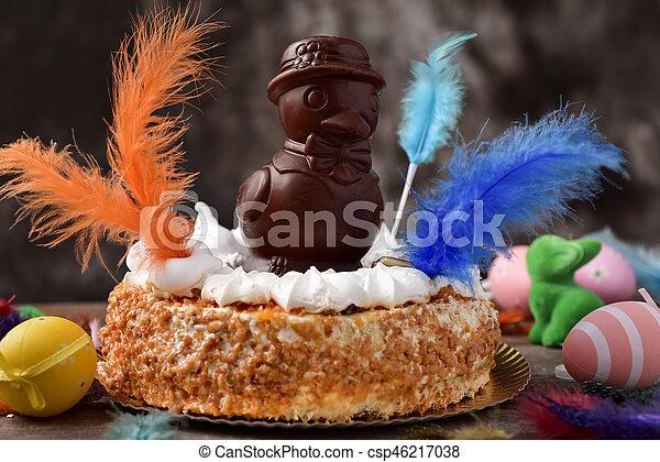 lunes, mona, de, pascua, comido, pastel, pascua, españa - csp46217038