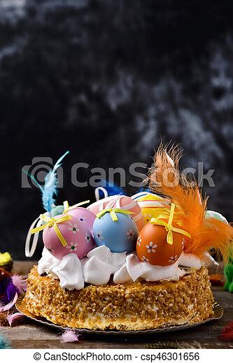 lunes, mona, de, pascua, comido, pastel, pascua, españa - csp46301656