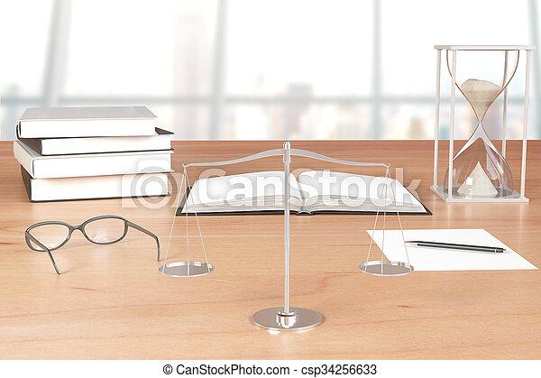 lunettes, balances, livres, table bois, sablier - csp34256633