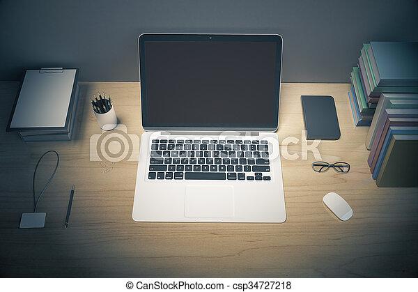 Lunettes bureau livres ordinateur portable accessoires haut