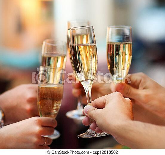 lunettes, champagne, celebration., tenue, gens - csp12818502