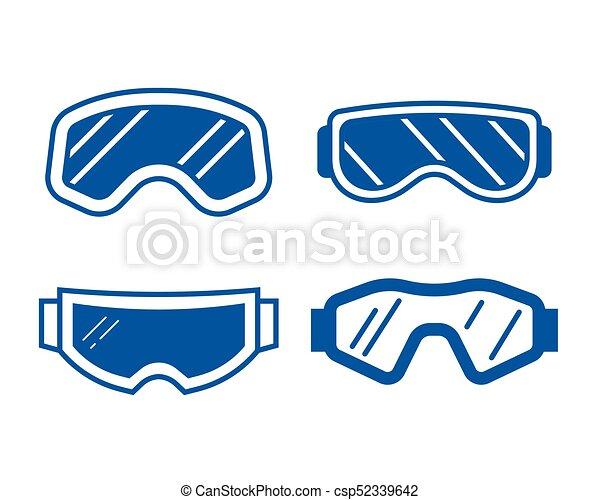 ba3e13600c73ee Lunettes protectrices, ensemble, ski, icône. Ou, ensemble, contour ...